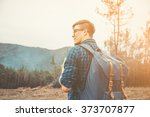 handsome traveler young man... | Shutterstock . vector #373707877