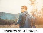 handsome traveler young man...   Shutterstock . vector #373707877