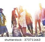 diverse beach summer friends... | Shutterstock . vector #373711663