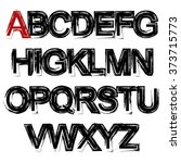 grunge alphabet. black sketch... | Shutterstock .eps vector #373715773