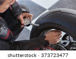 man motorcycle tire manual air... | Shutterstock . vector #373723477