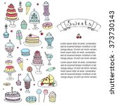hand drawn doodle sweets set... | Shutterstock .eps vector #373730143