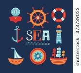 vector sea icons with anchor ... | Shutterstock .eps vector #373739023