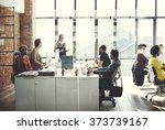 business team busy working... | Shutterstock . vector #373739167