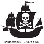 pirate ship with skull with... | Shutterstock .eps vector #373755433