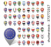 markers with flag for map ... | Shutterstock .eps vector #373772317