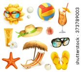 summer beach  set of vector... | Shutterstock .eps vector #373789003