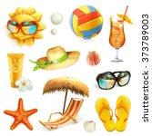 Summer beach, set of vector icons | Shutterstock vector #373789003