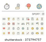 vector thin line icons set and... | Shutterstock .eps vector #373794757