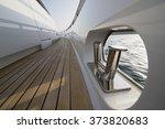 yacht teak deck detail. | Shutterstock . vector #373820683