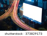 blank billboard in the night...   Shutterstock . vector #373829173