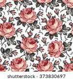 roses. seamless classic pattern....   Shutterstock .eps vector #373830697