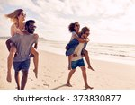 two beautiful young couples... | Shutterstock . vector #373830877
