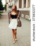 beautiful fashion stylish woman ... | Shutterstock . vector #373832377