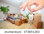 hand with house key. | Shutterstock . vector #373851283
