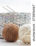 close up of knitting balls   Shutterstock . vector #373856467