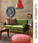 Green Sofa Stone Wall With...