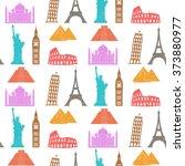 world landmarks vector seamless ... | Shutterstock .eps vector #373880977