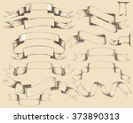 vintage ribbons big set. pencil ... | Shutterstock .eps vector #373890313