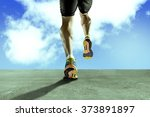 close up view strong athletic... | Shutterstock . vector #373891897