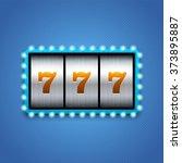 lucky seven on slot machine. | Shutterstock .eps vector #373895887