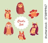 owls set vector. different... | Shutterstock .eps vector #373899967