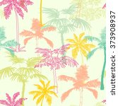 vector palm trees california... | Shutterstock .eps vector #373908937
