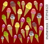 ice cream back pattern red | Shutterstock .eps vector #373918123