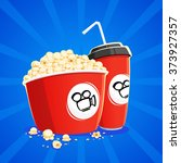 carton bowl full of popcorn and ... | Shutterstock .eps vector #373927357