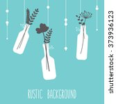 rustic hanging bottles with... | Shutterstock .eps vector #373936123