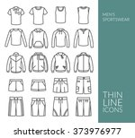 set with thin line icons on men'...   Shutterstock .eps vector #373976977