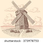 Windmill. Hand Drawn Engraving...