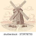 Windmill. Hand Drawn Engraving...