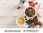 homemade granola with berries... | Shutterstock . vector #373982227