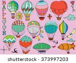 hot air balloons in the sky... | Shutterstock .eps vector #373997203