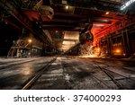 pouring of liquid metal in open ... | Shutterstock . vector #374000293
