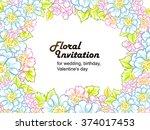 vintage delicate invitation... | Shutterstock . vector #374017453