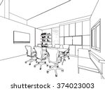 interior outline sketch drawing ... | Shutterstock .eps vector #374023003