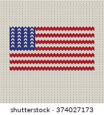 knitted flag of the united... | Shutterstock .eps vector #374027173