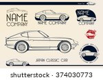 japan classic sports car... | Shutterstock .eps vector #374030773