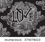 love letter with floral doodle... | Shutterstock .eps vector #374078023