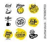 hand written font lettering.... | Shutterstock .eps vector #374080903