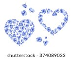 blue watercolor hydrangea... | Shutterstock . vector #374089033