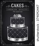 vintage poster cakes. freehand...   Shutterstock .eps vector #374092447