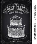 vintage poster best cakes.... | Shutterstock .eps vector #374092807