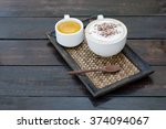 cappuccino coffee cup and tea... | Shutterstock . vector #374094067