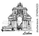 commerce square in lisbon with... | Shutterstock .eps vector #374096323