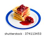 strawberry waffle | Shutterstock . vector #374113453