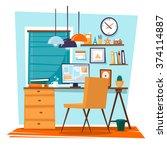 office interior with designer... | Shutterstock .eps vector #374114887