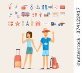 traveling couple and set of... | Shutterstock .eps vector #374122417